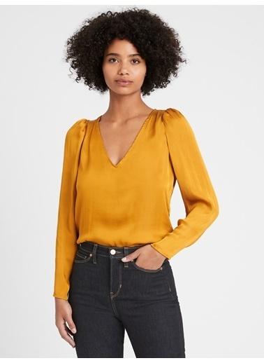 Banana Republic Saten V Yaka Bluz Sarı